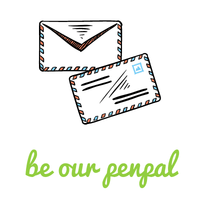 """Be our penpal"" font widget with two envelope drawings above"