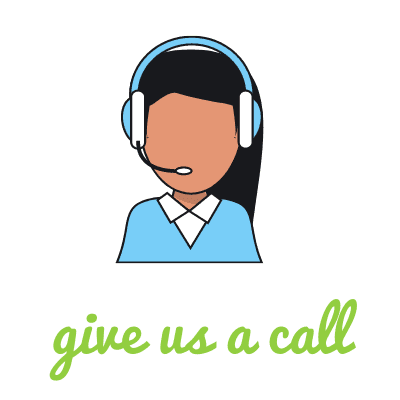 "A drawing of a women in a blue shirt wearing a headset with the words ""give us a call"" in green lettering."