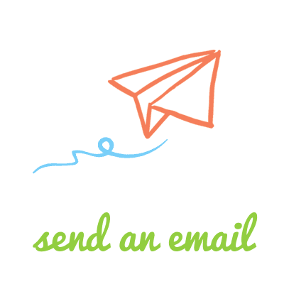 "A drawing of a peach paper plane in flight with the words ""send an email"" in green lettering."