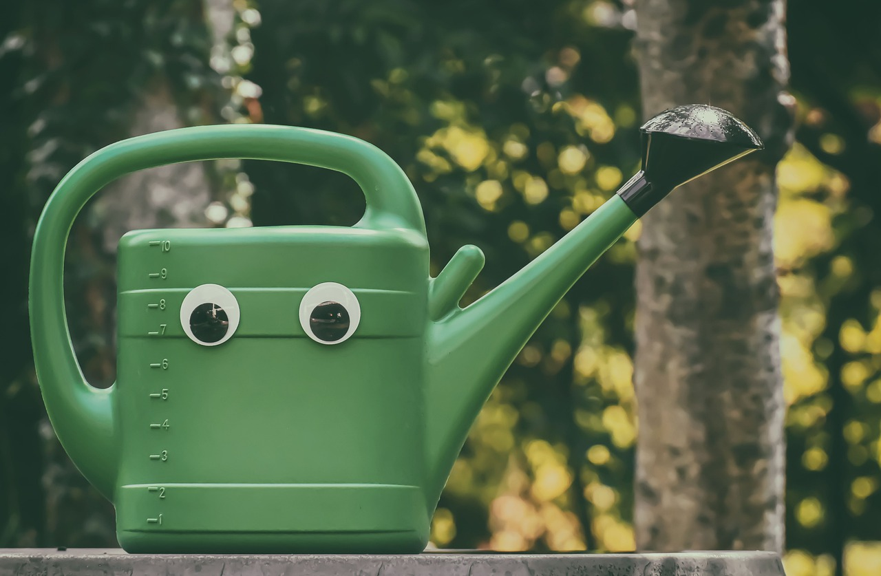 A green watering can with big googly eyes on it sitting on a piece of wood with trees in the background.
