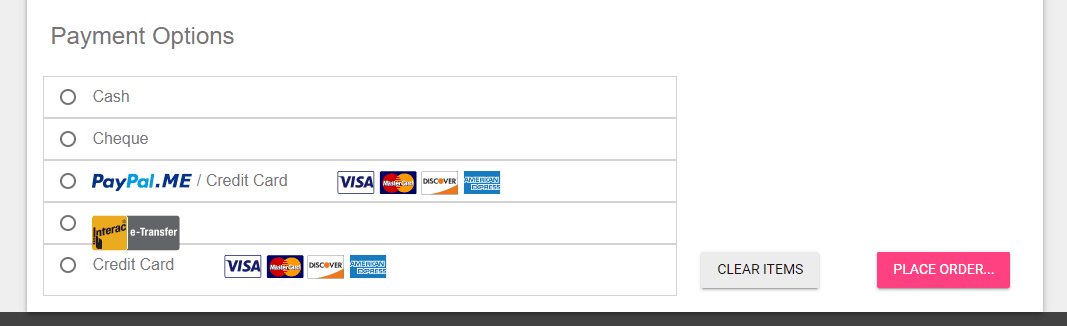A screenshot of the payment options available on the team website page.