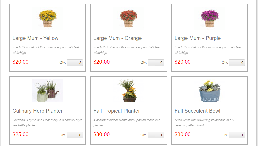 A screenshot of the products listed on the team website page for the summer/fall fundraiser.