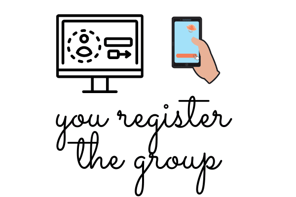 "A drawing of a computer and a person on their phone with the words ""you register the group"" in black cursive lettering."