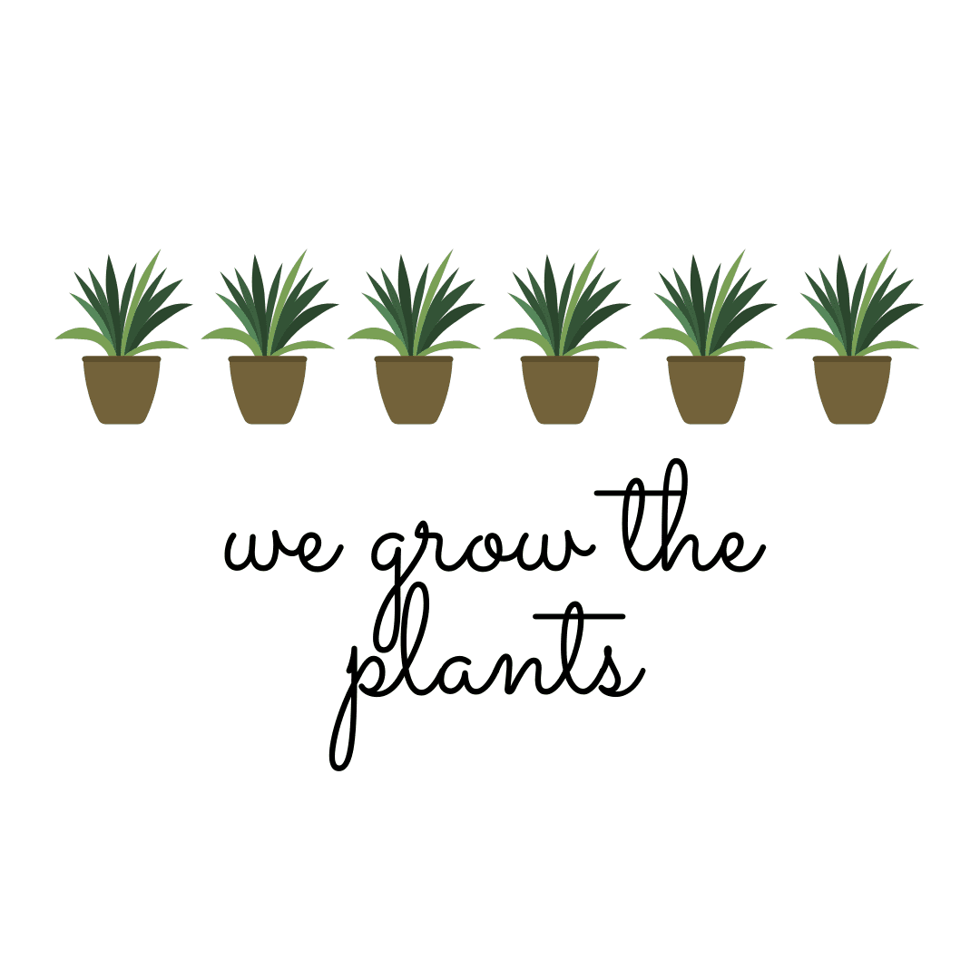 "A line of potted green plants and ""We Grow The Plants"" written in black cursive writing."